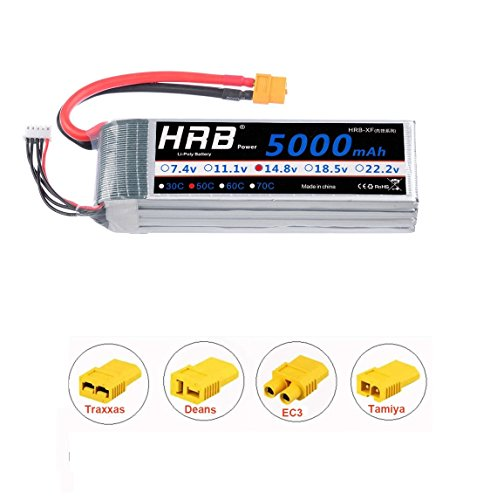 HRB 5000mAh 14.8V 50C 4S Lipo Akku Pack XT60 for FPV Racing Quadcopters Diverse Racing Cars Helikopter Flugzeuge und Modellboote - 4 Maßstab 1 Rc-flugzeuge
