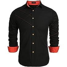 72a88213ec5 Coofandy Camisa de Vestir Hombre Manga Larga de Trabajo Multcolor de Algodón