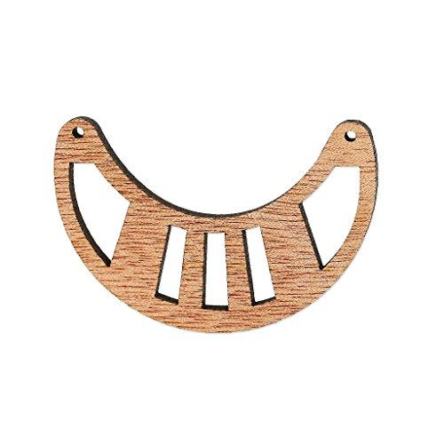 Separatore per collana mezza luna traforato mm. 50x31 di legno Brown x1