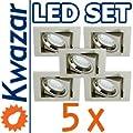 Super Set 5er K-23 Einbaustrahler Led Lampe 20p 20w Gu10 Fassung 230v von Kwazar Leuchte