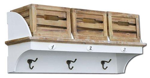 KMH®, Garderoben-Regal mit 3 Holzkörben im Vintage-Look (#204801)