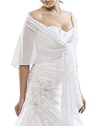 Gasa de novia o de noche estola chal wrap - CHIFFON - Forma Circular Evita deslizante apagado - BLANCO - MARFIL - NEGRO - AZUL MARINO - ROSÉ - Talla única