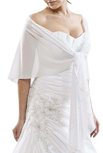 BrautChic Chiffon Stola perfetto per tutti abiti da sposa o abiti da sera Stola siede bene senza scivolare BIANCO