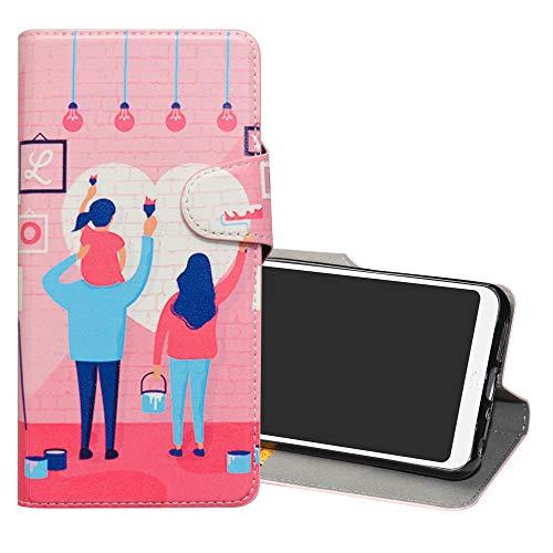 YCGG BQ Aquaris C Leder hülle, Wallet Stylish mit Standfunktion/Kartenfächer PUtasche Painted Muster Case für BQ Aquaris C(Nicht für andere Modelle),Family