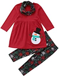 Christmas Outfit Kids Toddler Girls Long Sleeve Tops Dress Snowflakes Pants  Leggings Scarf Clothes Set ( 908915bec