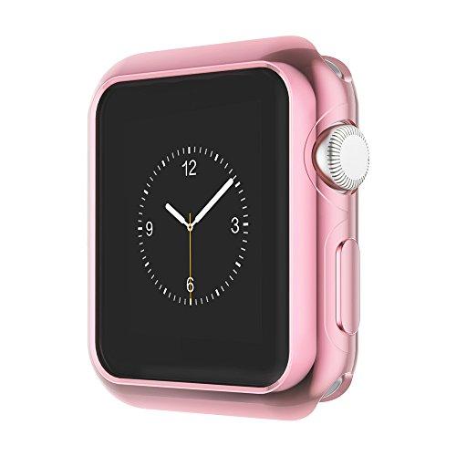 Apple Watch Funda Series 2 HOCO Pinhen Funda Protector de Pantalla de Metálico Ligero para Apple Watch Series 2 (38MM Case Pink)