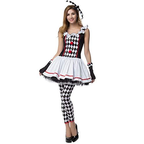 semen Halloween Kostüm Für Damen Clown Karo Erwachsene Jugendliche Verkleidung Cosplay Party Fasching Karneval (Rüschen Party Clown Kostüm)