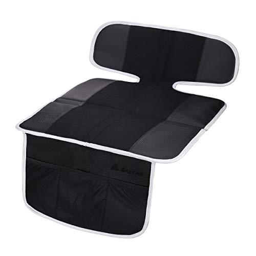SALCAR Kindersitz Unterlage Sitzschutz Auto für Isofix Autositz Schutzunterlage Anti Rutsch, Baby Auto Sitz Schutz mit Aufbewahrungsfunktion, Schwarz