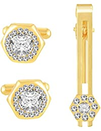 Meenaz Men Jewellery Cufflinks Set Diamonds Crystals Tie Pin For Men In A Gift Box Valentines Day Gifts For Men...