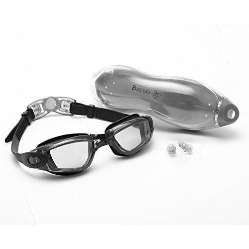 Bezzee Pro Schwimmbrille Anti-Beschlag-Beschichtung Wasserdicht Komfortable Brille Männer Frauen Erwachsene Jugendliche Schwimmbrillen Beinhaltet ein Schutzetui, Ohrstöpsel (Schwarz Klare Linse)