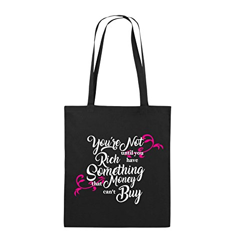 Comedy Bags - You're not rich until you have something that money can't buy - Jutebeutel - lange Henkel - 38x42cm - Farbe: Schwarz / Weiss-Neongrün Schwarz / Weiss-Pink