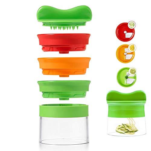 Spiralizzatore tagliaverdure a 3 lame, con spazzola per la pulizia e pelapatate, crea spirali, spaghetti e noodle di verdure fatti a mano, per carote, cetrioli, patate, zucca, zucchini
