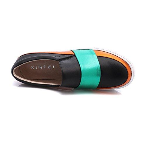 Shenn Frauen-Plattform-Leder-Trainer-Schuhe 1601 Schwarz&Grün