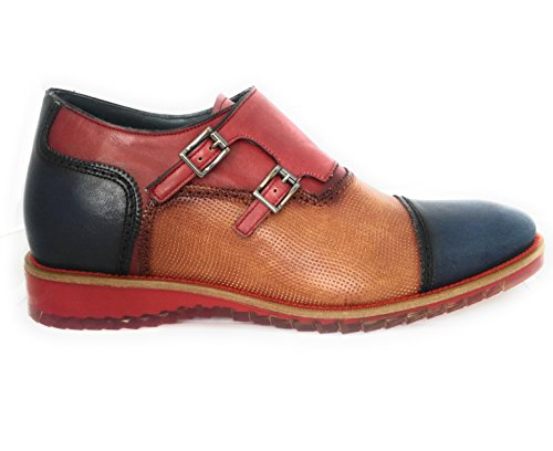 Zeraltos. Chaussures réhaussantes intérieur pour messieurs. Augmentation + 7 cm. Falcon azul marino cuir, respirant, confortable. Marine en cuir bleu