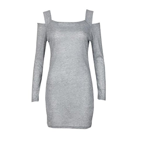 Rosennie Damen Crew Hals Strickwaren Mini Kleid Grau