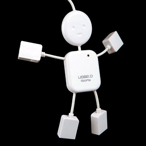 KINGZER 4 Ports USB Hub Man Mini Puppe 2.0 mit LED für Windows und Mac OS weiß