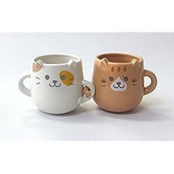 YOU&I Gato Pareja Nakayoshi Pair Taza Set 2 Taza de cerámica Copas con Asas de Japón LF-0954
