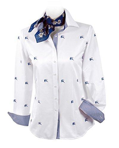 First Class Trachtenbluse Damen - Damenblause Langarm Hirsch-Dessin Weiß-Blau/Royal Weiß/Royalblau