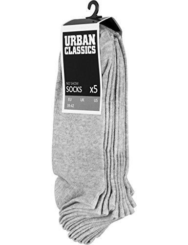 Preisvergleich Produktbild Urban Classics Herren No Show Socks 5-Pack,  Grey,  43-46