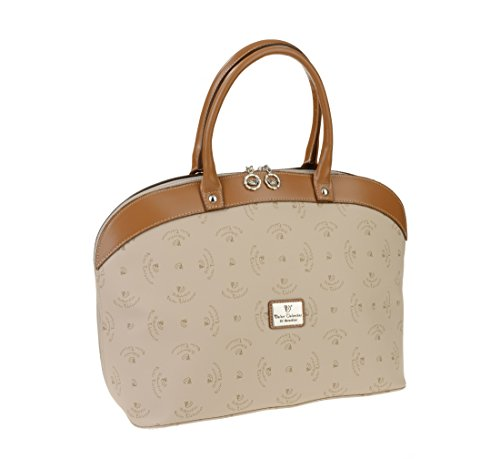 e6a236f442 Walter Valentino – Made in Italy Exclusive Shopping Bag with Printed Logo  43x28x18 cm beige cognac