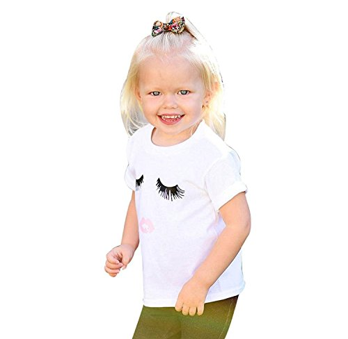 Familie Neugeborenes Baby Kurzarm Strampler Romper Mama Kinder Jungen Mädchen T-Shirt Bluse Tops (110(3-4 Jahre), Kinder Weiß)