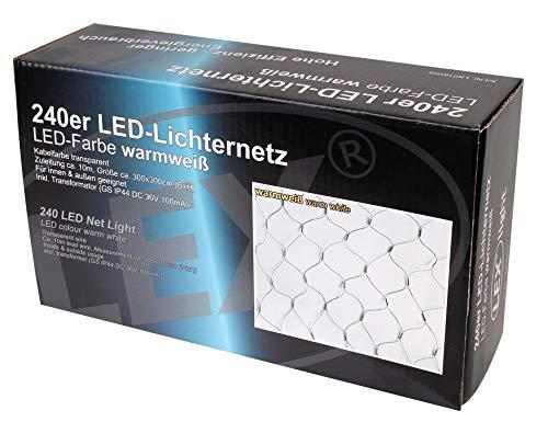 240 er LED Lichternetz Strom für außen Strom Lichtfarbe warmweiss Kabel grün