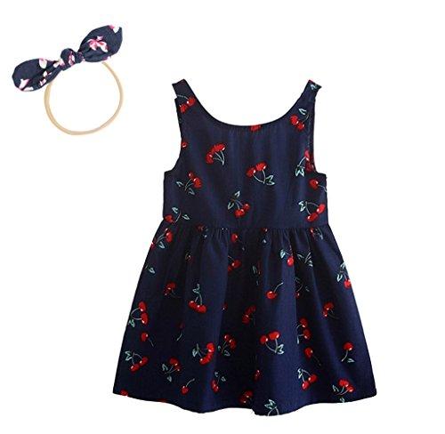 WANGLAI 1 stücke Kinder haarnadel, 1 stücke Mädchen Sommerkleider Mädchen Ärmelloses Muster Kleid