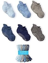LA Active Chaussettes Antidérapantes pour Bébés et Enfants - 6 Paires - Non-glissement