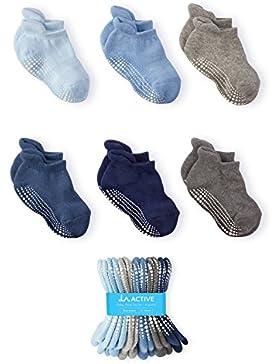 LA Active Baby Kleinkind Socken - 6 Paar – Anti Rutsch/Rutschfest Grip Knöchelsocken