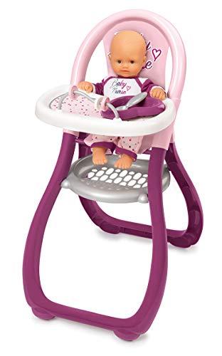 Smoby - 220342 - Baby Nurse - Chaise Haute Poupon - + 2 Accessoires Inclus