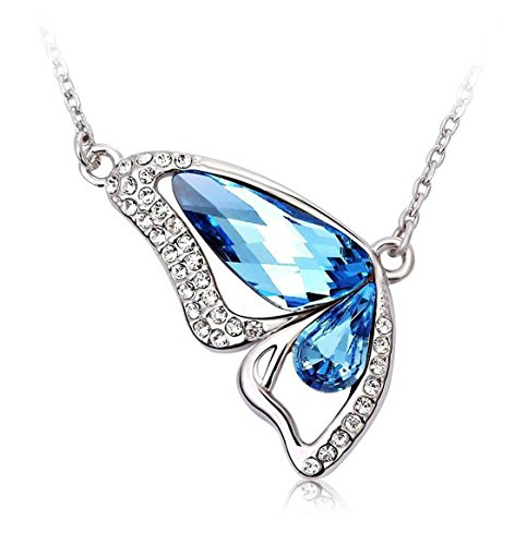 Shining Diva Platinum Plated Crystal Butterfly Pendant Necklace for Women