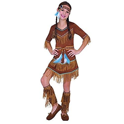 Kinder Indianer Mädchen Kostüm Squaw Traumfänger Pocahontas Kostüm Outfit - Braun, EU 128-140 (Indianer Kostüme)