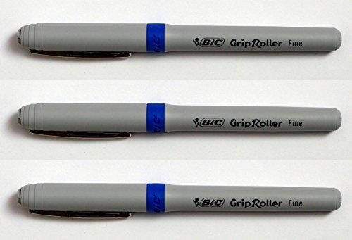 BIC Grip Set de 3bolígrafos de tinta azul bolígrafo Roller deslizamiento suave agarre medio 0,7mm (suministrados sueltos)