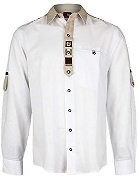 OS Trachten Herren Herren Trachten-Krempelarm-Hemd Weiß, 01-Weiss,