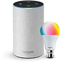 Echo (White) bundle with Wipro 9W smart bulb