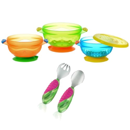 Munchkin 3 Count Stay Put Suction Bowl with Mighty Grip Fork & Spoon 41VxyeiX 2BSL
