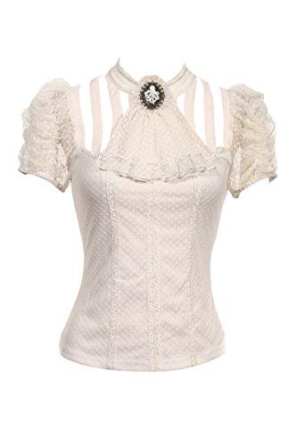 RQ-BL Viktorianische Kurzarm-Bluse - Sasha - Farbauswahl (SP087), Farbe:Weiß;Größe:XXL
