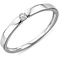 Anillo de 9 KT 375 oro blanco diamante (0.05 ct)