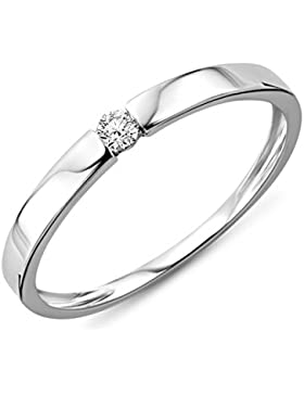 Miore Damen-Ring Verlobung   Solitär 9kt 375 weißgold rhodiniert Diamant (0,05 ct) weiß Rundschliff