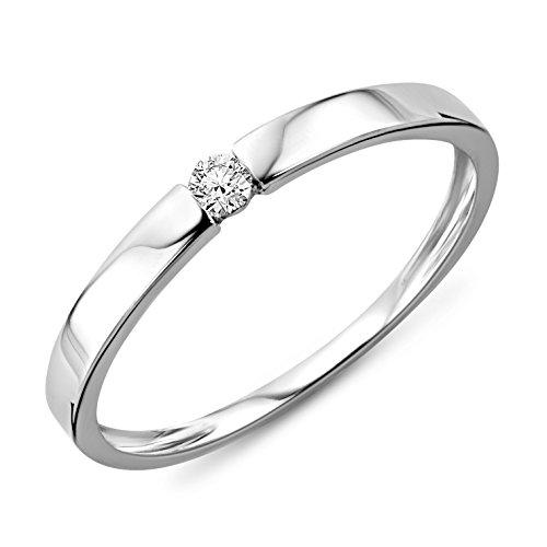 Miore anello donna   solitario anello di fidanzamento diamante taglio brillante ct 0.05  oro bianco 9 kt / 375