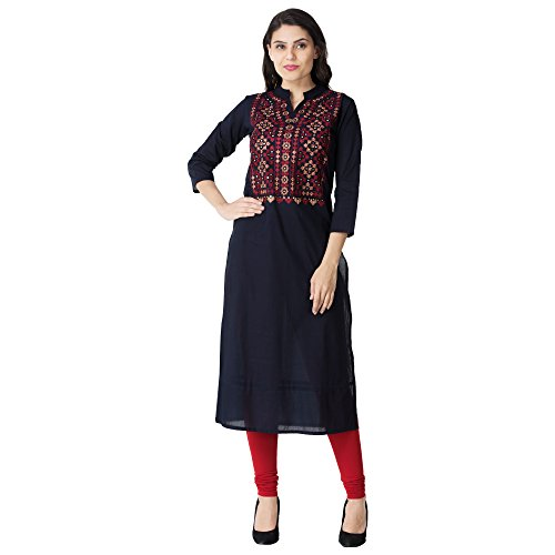 Attire4ever Women's Cotton Blue Kurta (Dg-0076-Redembroidery-XXL)