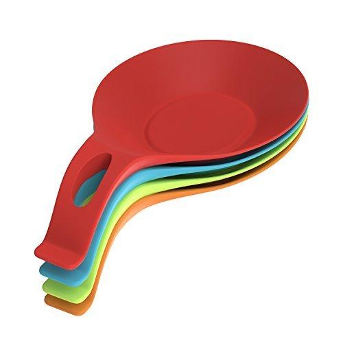 Nuovoware Löffelablage Set, [4 Stück] Premium Silikon Küche Löffelablage Set, Nahrungsmittelgrad Hitzebeständiger flexibler Ofen & Counter Top Spoon Rest, 4 Farbe