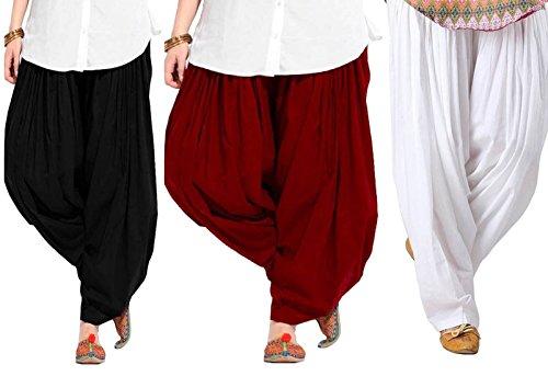 Spangel Fashion Women\'s Soft Cotton Full Stitched Ready made Patiala Bottom Salwar Combo Patiyala Pack Of 3 (Black, Maroon, White_Free Size)