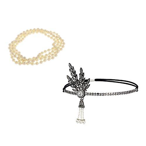 MagiDeal 1920er Strass Blätter Stirnband Braut Tiara Perlen Kopfstück und Perlen Halskette Perlenkette für Tanzabend Party (1920er Jahre Perlenkette)