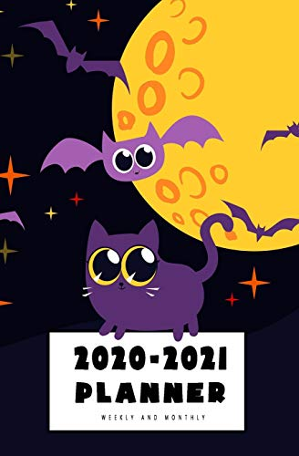 """2020-2021 Weekly And Monthly Planner: Calendar Schedule, Squares Quad Ruled Notes, Dot Notes, No Holiday, Black Cat Halloween Pumpkin (January 2020 through December 2021) Pocket Size 5.25"""" x 8"""""""