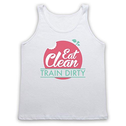 Eat Clean Train Dirty Tank-Top Weste Weis