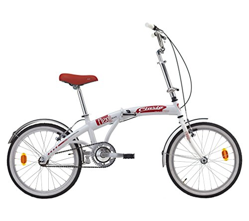 BICICLETA PLEGABLE FLEXY-BIKE DE ACERO 20 PULGADAS BLANCO/ROJO