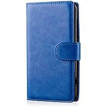 32nd® Funda Flip Carcasa de Piel Tipo Billetera para LG G2 (D802) con Tapa y Cierre Magnético y Tarjetero - Azul