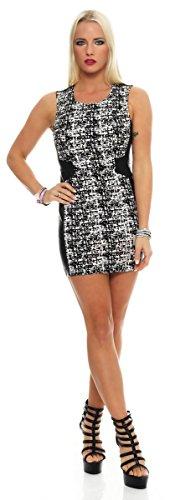 5663 Fashion4Young Damen ärmelloses Minikleid im Etui-Look Kleid dress 3 Größen schwarz-weiss