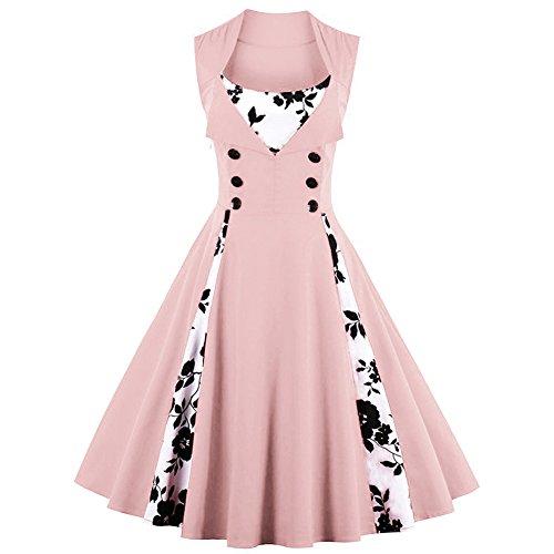 Joansam Garden Kleider für Frauen klassische Audrey Hepburn 50er Jahre Vintage Swing Kleider (Girl Halloween Jahre Up Kostüme 50er Pin)